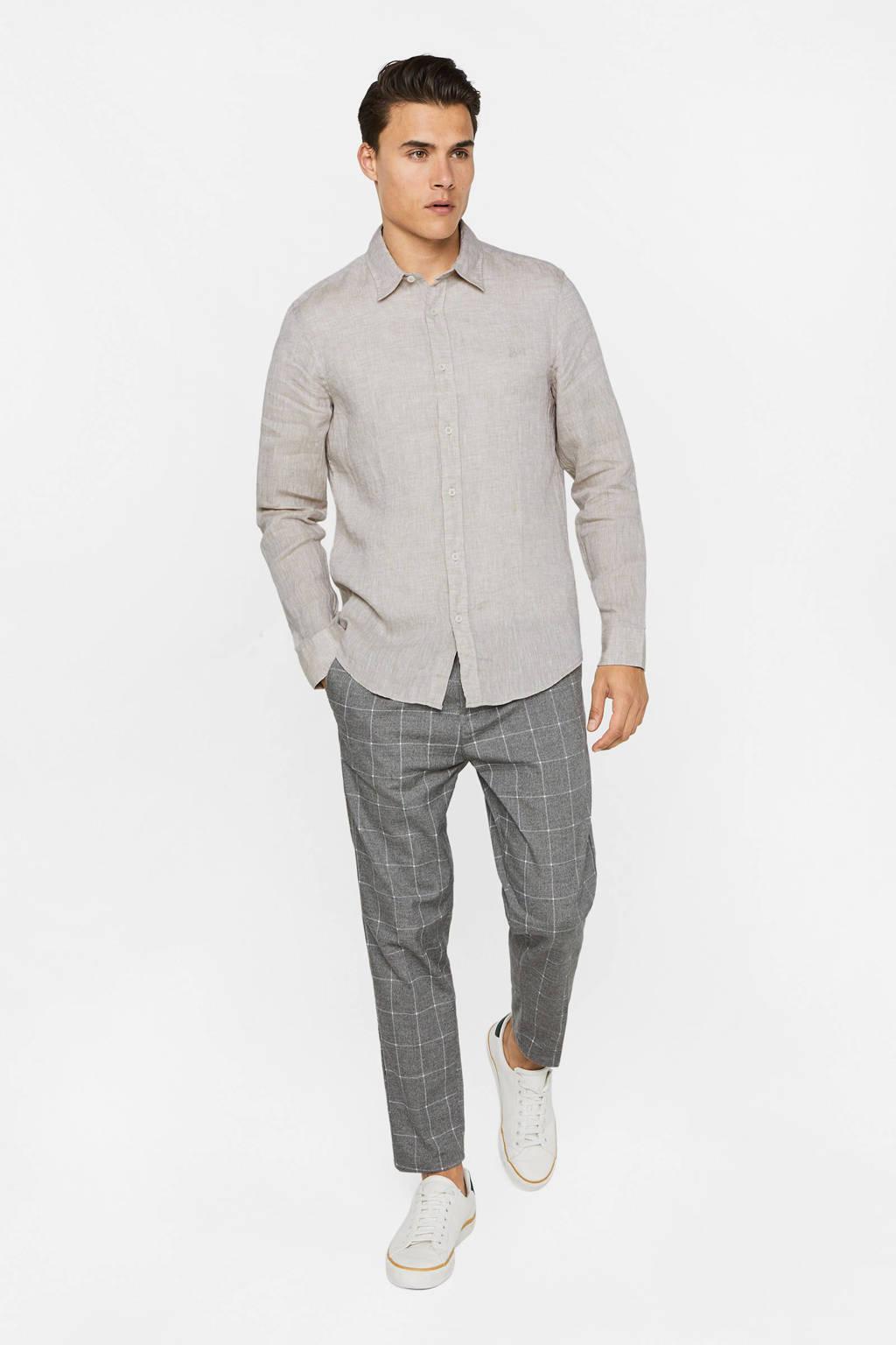 WE Fashion linnen slim fit overhemd sesame, Sesame