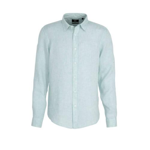 WE Fashion linnen slim fit overhemd blue dream