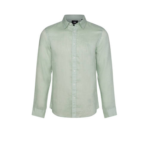 WE Fashion linnen slim fit overhemd wasabi
