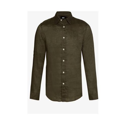 WE Fashion linnen slim fit overhemd forest night