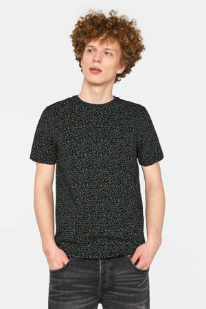 T-shirt met all over print zwart/wit