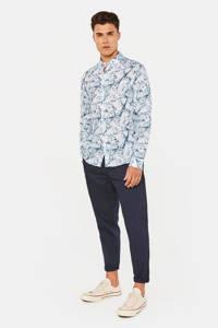WE Fashion linnen slim fit overhemd met all over print blue dream, Blue Dream