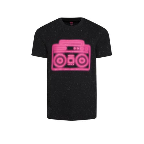 WE Fashion T-shirt met printopdruk zwart