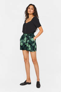WE Fashion high waist straight fit short met all over print groen, Groen