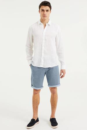 linnen slim fit overhemd white uni
