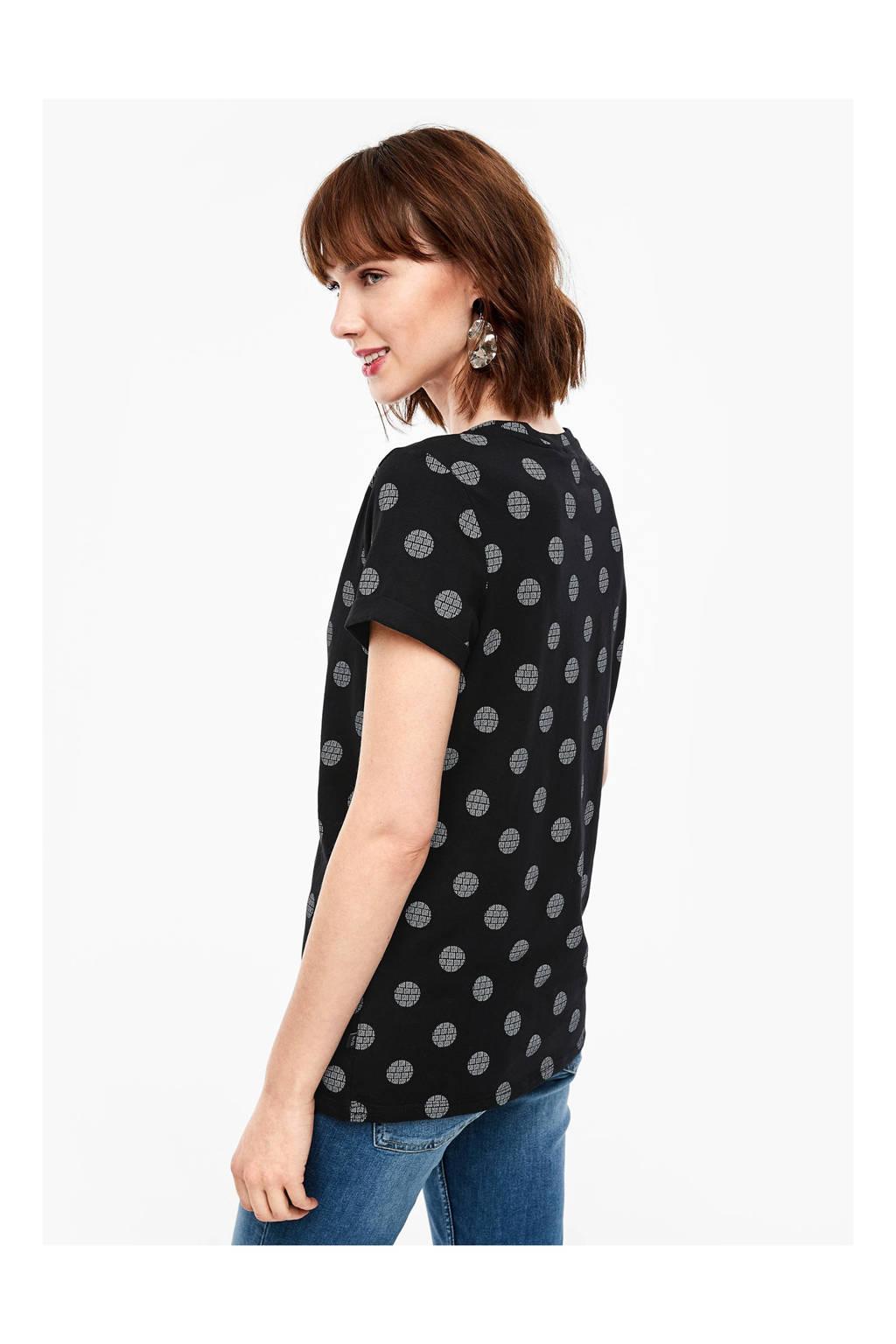 Q/S designed by T-shirt met stippen zwart/wit, Zwart/wit