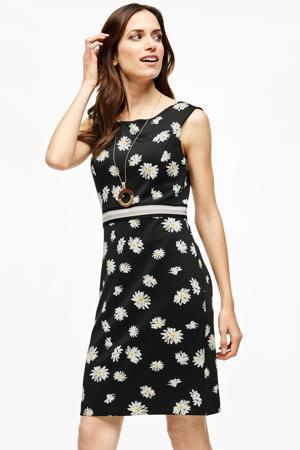 gebloemde jurk met contrastbies zwart