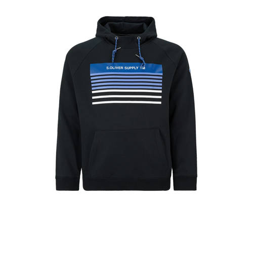 s.Oliver Big Size hoodie met printopdruk marine Bi