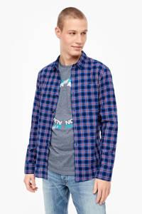 Q/S designed by geruit regular fit overhemd blauw, Blauw