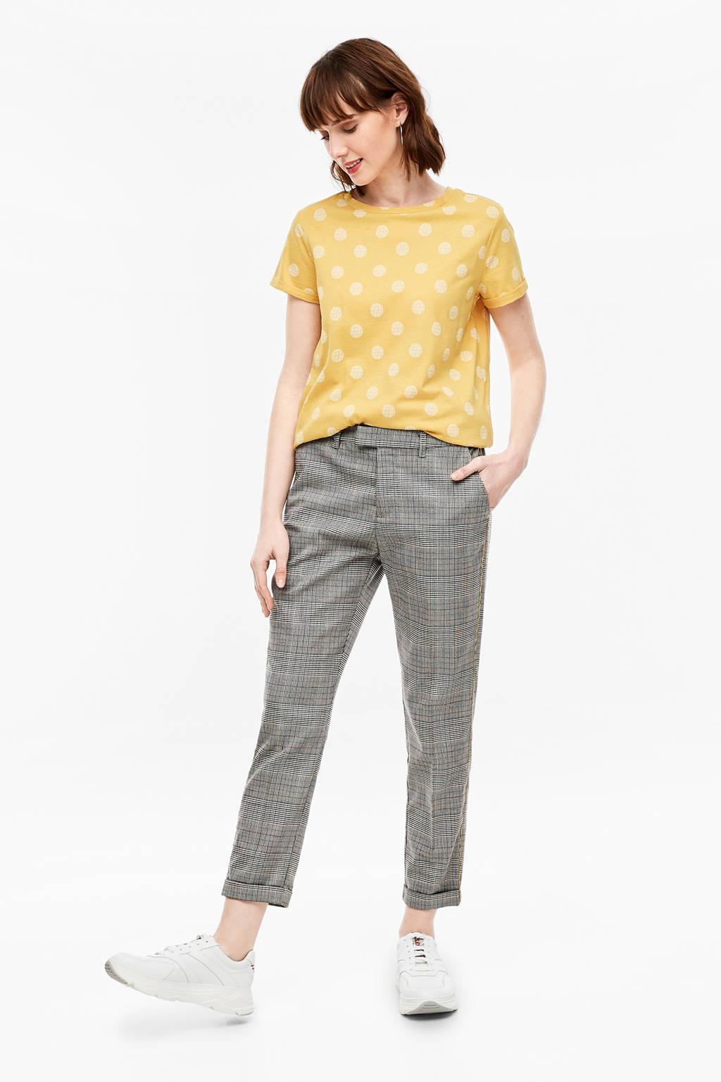 Q/S designed by geruite straight fit pantalon met zijstreep zwart/wit/geel, Zwart/wit/geel