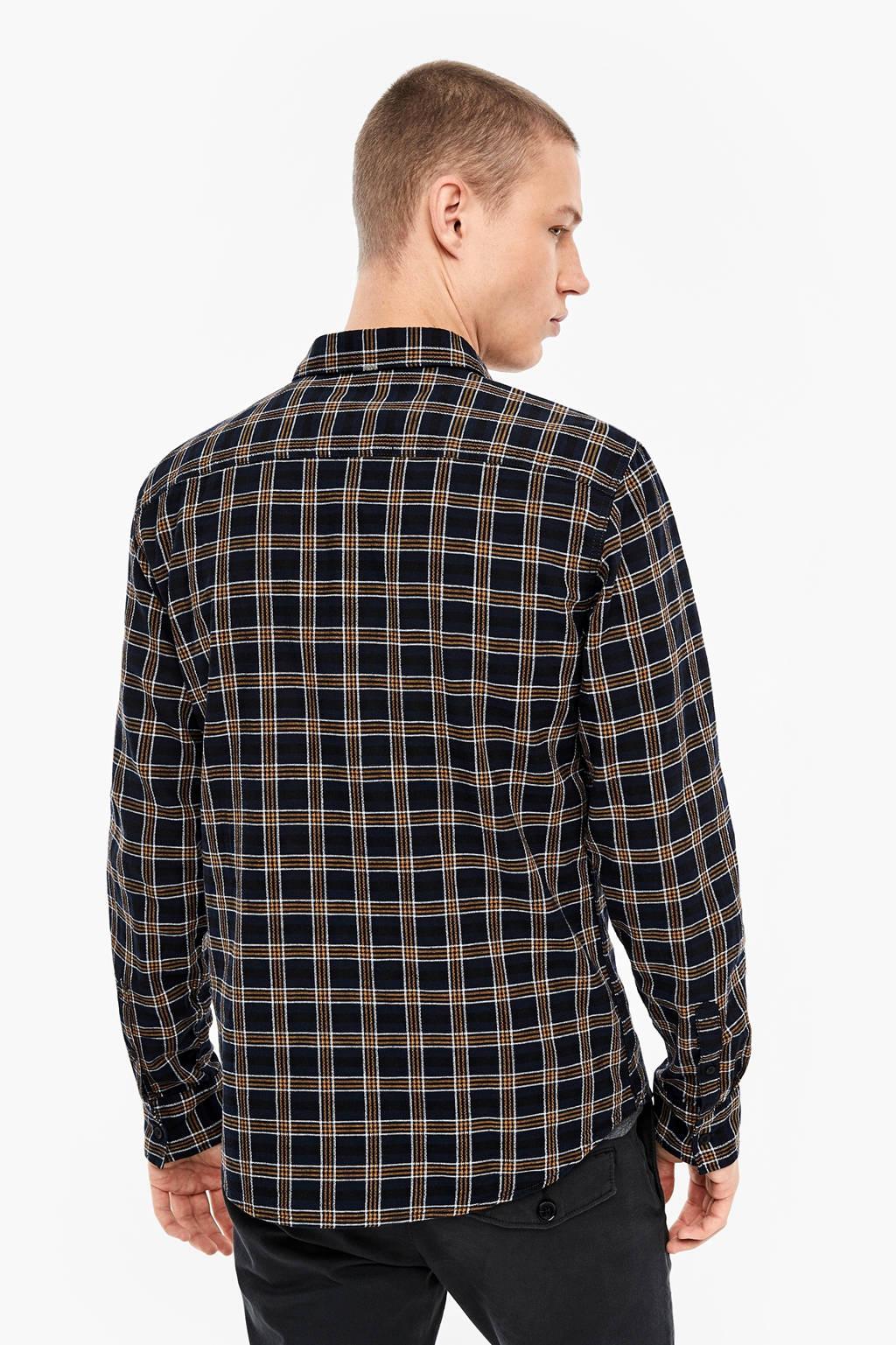 Q/S designed by geruit regular fit overhemd marine/okergeel, Marine/okergeel