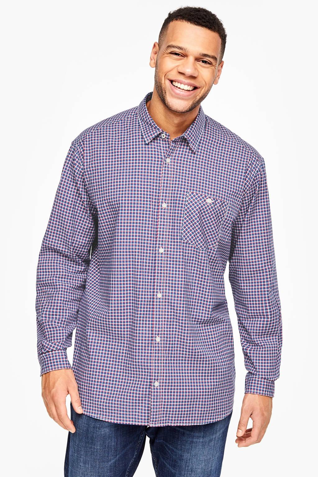 s.Oliver geruit oversized overhemd blauw Big size, Blauw