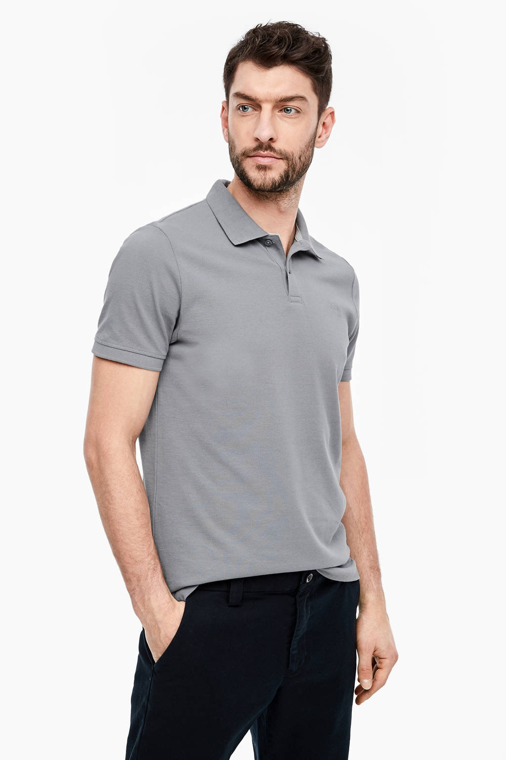 s.Oliver slim fit polo turquoise, Grijs