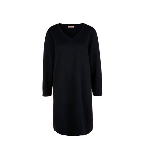 TRIANGLE jersey jurk met contrastbies zwart