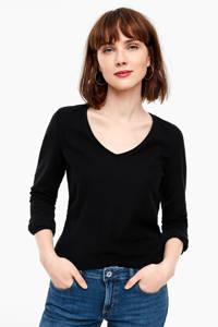 Q/S designed by gestreept T-shirt zwart, Zwart