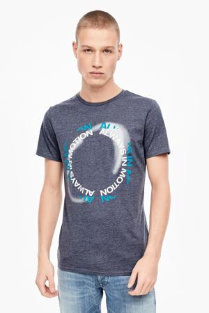 T-shirt met printopdruk grijsblauw/wit
