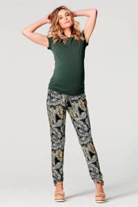 Noppies low waist slim fit zwangerschapsbroek Beliz met all over print zwart/wit/geel, Zwart/wit/geel