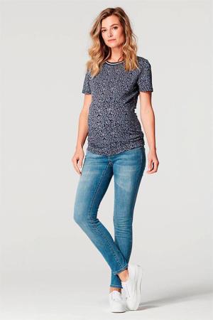 zwangerschapsshirt Alice met all over print blauw/zwart/wit