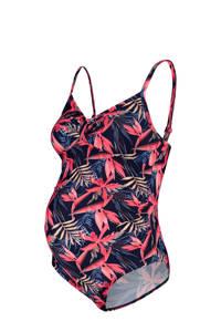 Noppies zwangerschapsbadpak Blisse met all over print donkerblauw/roze, Donkerblauw/roze