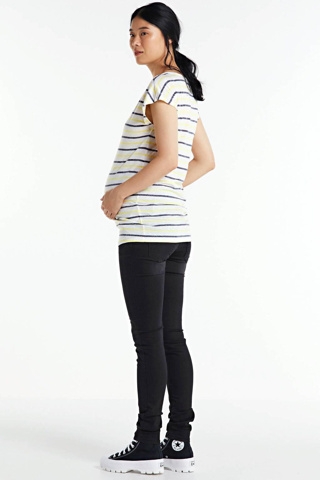 Noppies gestreept zwangerschapsshirt Aline lichtgeel, Lichtgeel