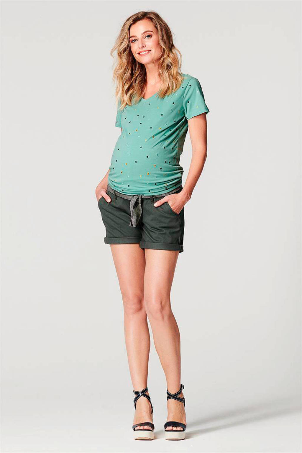 Noppies low waist slim fit short Brooke donkergroen, Donkergroen