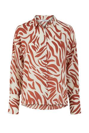 blouse met zebraprint bruin