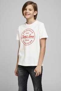 JACK & JONES JUNIOR T-shirt Langmore met logo wit/rood, Wit/rood
