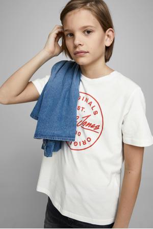 T-shirt Langmore met logo wit/rood