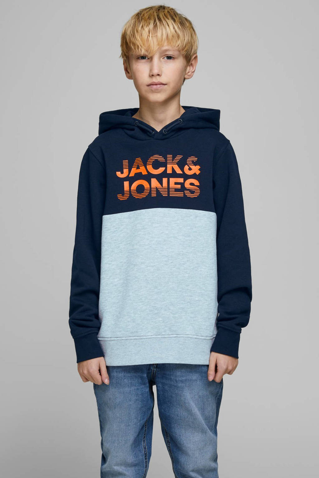 JACK & JONES JUNIOR hoodie Milla met tekst donkerblauw/grijs melange/oranje, Donkerblauw/grijs melange/oranje