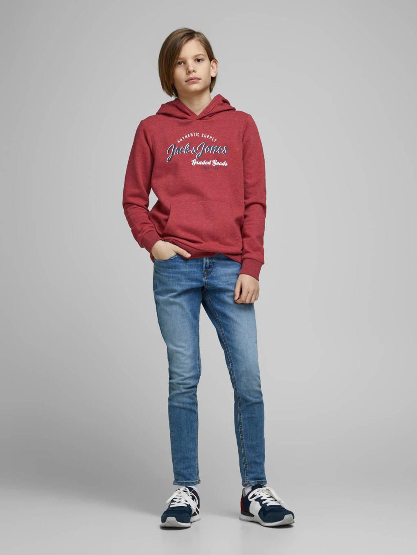 JACK & JONES JUNIOR hoodie Logo met tekst rood/donkerblauw/wit, Rood/donkerblauw/wit