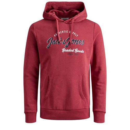 JACK & JONES JUNIOR hoodie Logo met tekst rood