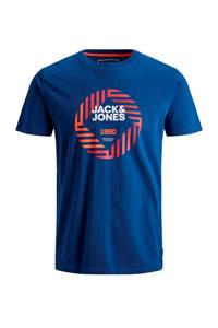 JACK & JONES JUNIOR T-shirt Friday met logo blauw/rood/wit, Blauw/rood/wit