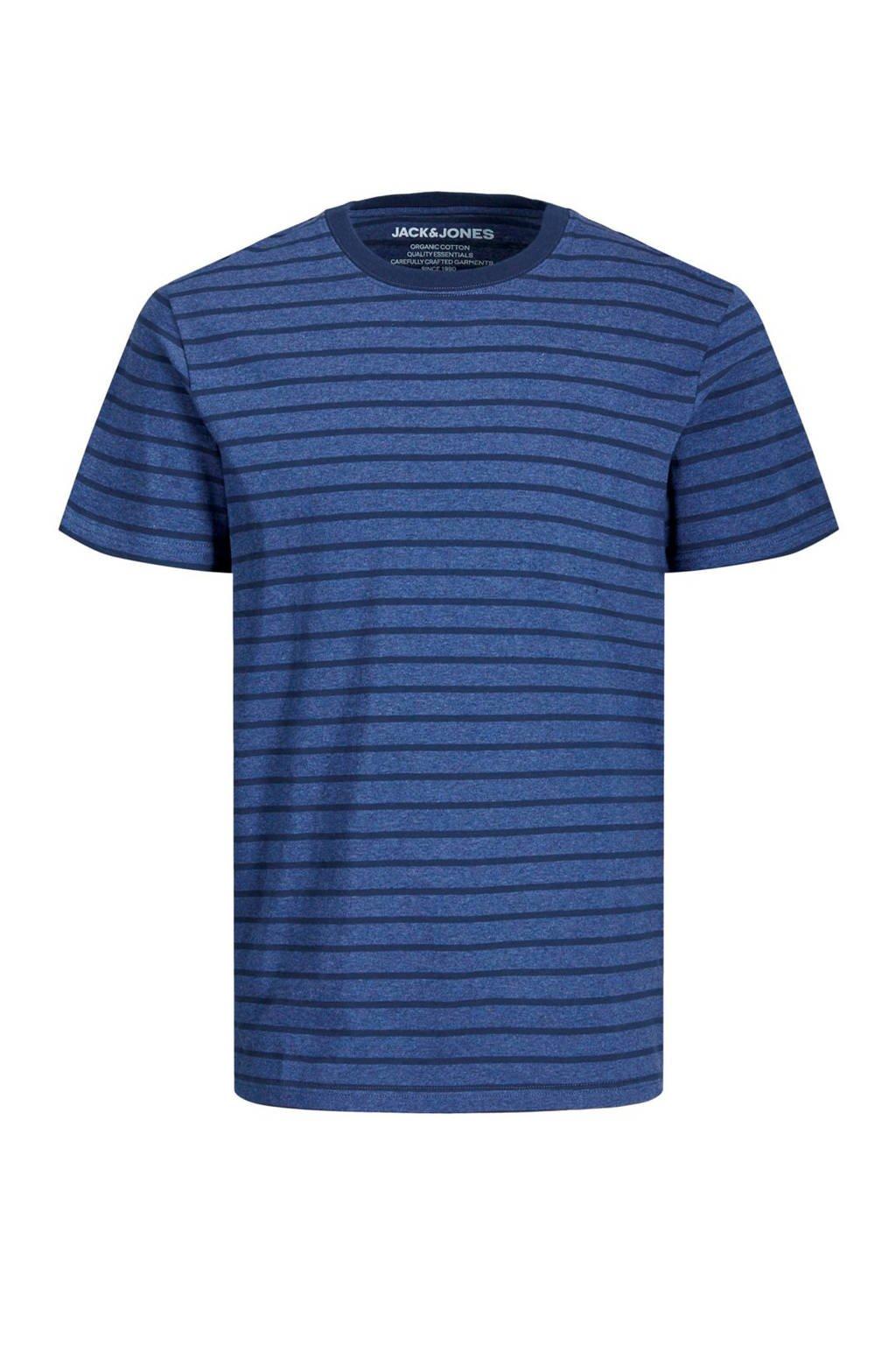 JACK & JONES JUNIOR gestreept T-shirt Striped blauw/donkerblauw, Blauw/donkerblauw