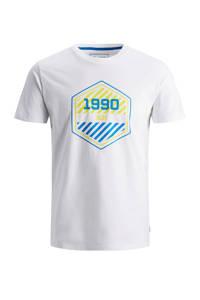 JACK & JONES JUNIOR T-shirt Friday met logo wit/blauw/geel, Wit/blauw/geel