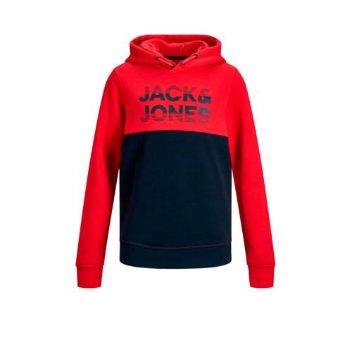 JACK & JONES JUNIOR hoodie Milla met tekst roo