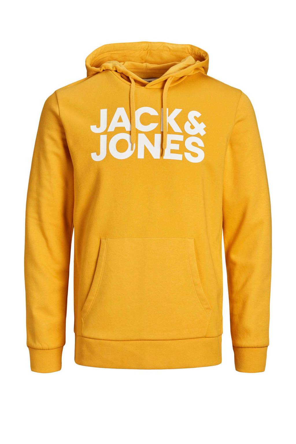 JACK & JONES JUNIOR hoodie Corp met logo geel/wit, Geel/wit