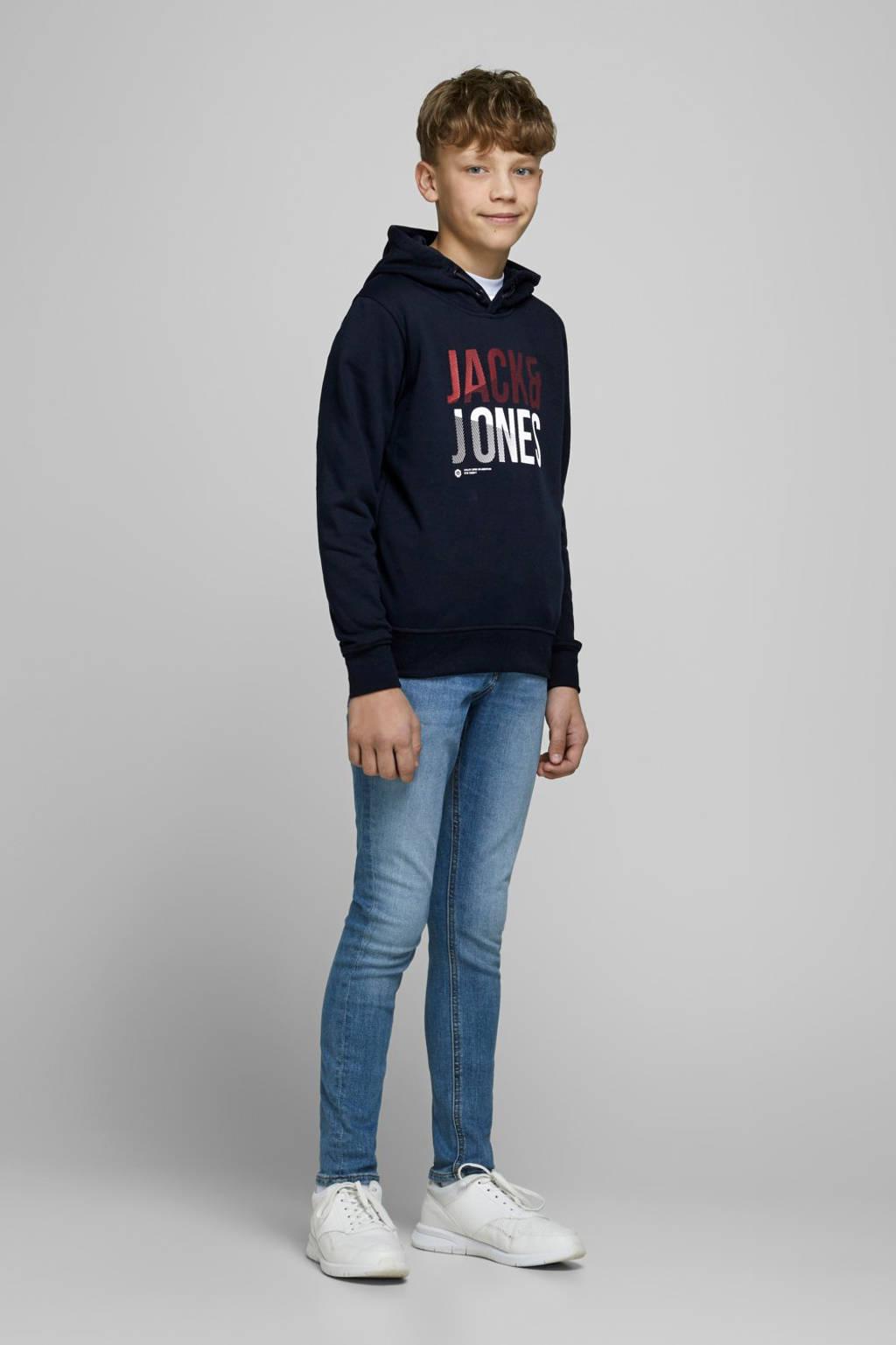 JACK & JONES JUNIOR hoodie Foke met logo wit, Zwart