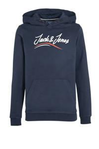 JACK & JONES JUNIOR hoodie Fless met printopdruk en borduursels donkerblauw/wit/rood, Donkerblauw/wit/rood