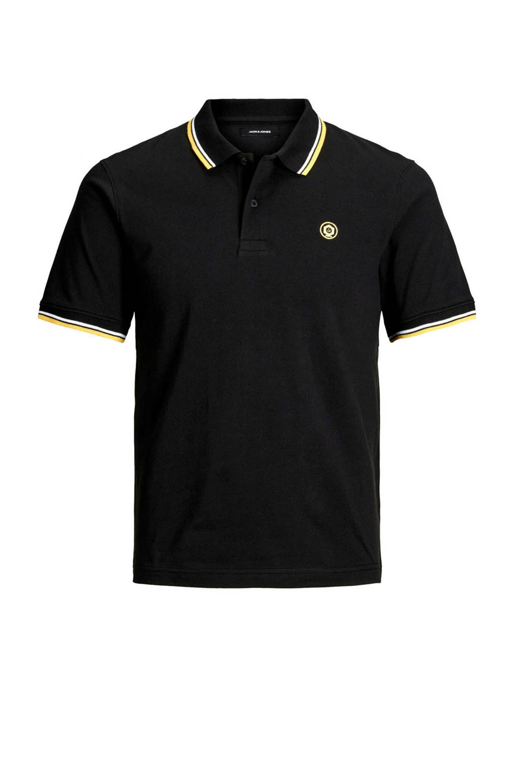 JACK & JONES JUNIOR polo Noah met borduursels zwart, Zwart