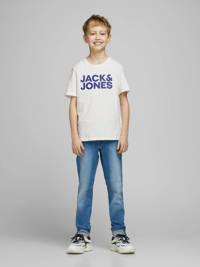JACK & JONES JUNIOR T-shirt JJECORP met logo wit/blauw, Wit/blauw