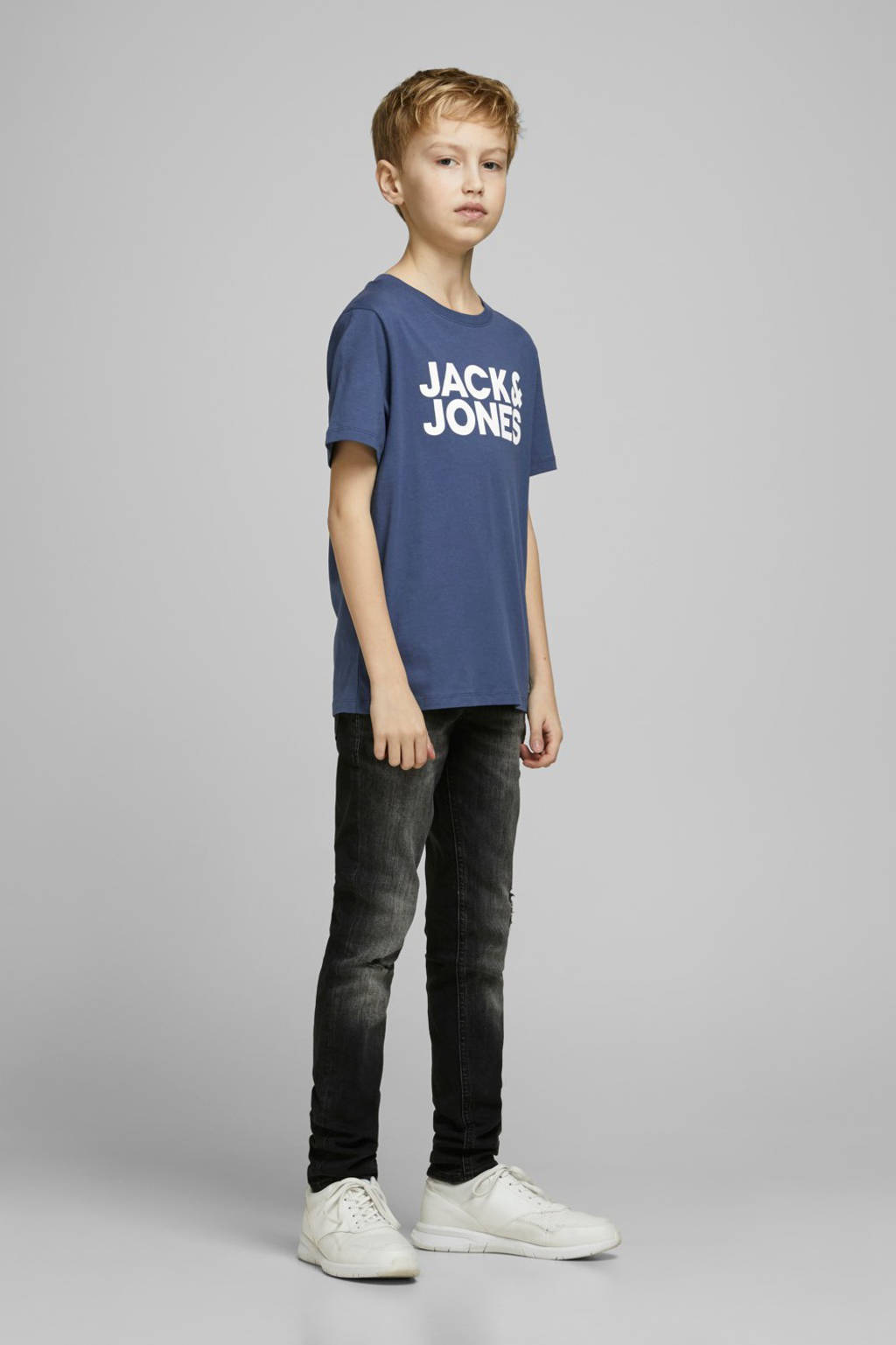 JACK & JONES JUNIOR T-shirt Corp met logo dark denim, Dark denim