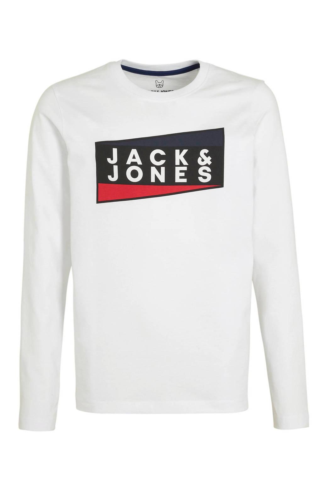 JACK & JONES JUNIOR longsleeve met logo wit/zwart/rood, Wit/zwart/rood