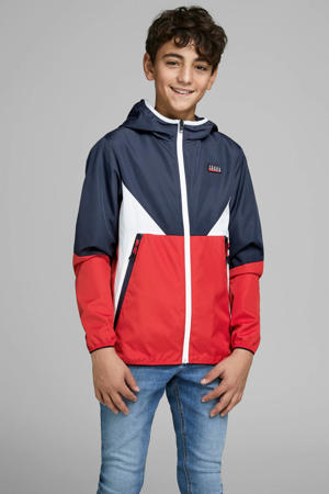 zomerjas James donkerblauw/wit/rood
