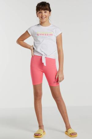 slim fit biker short met logo neon roze