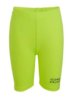 slim fit biker short met logo neon geel