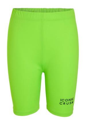 slim fit biker short met logo neon groen
