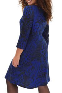 Simply Be jersey jurk met dierenprint blauw/zwart, Blauw/zwart