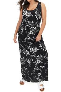 Simply Be gebloemde maxi jurk zwart/ecru, Zwart/ecru