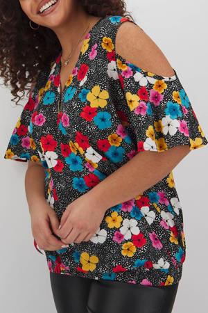 open shoulder top met all over print multicolor