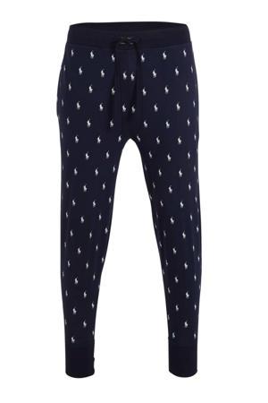 pyjamabroek met all over print donkerblauw